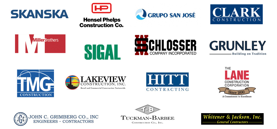 Skanska, Hensel Phelps, San Jose Construction, Clark Construction, Miller Brothers, Sigal, WM Schlosser, Grunley, TMG World, Lakeview Construction, HITT, Lane Construction, John C. Grimberg, Tuckman Barbee, Whitener & Jackson